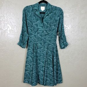 {Anthropologie} Teal Leopard Cat Print Dress